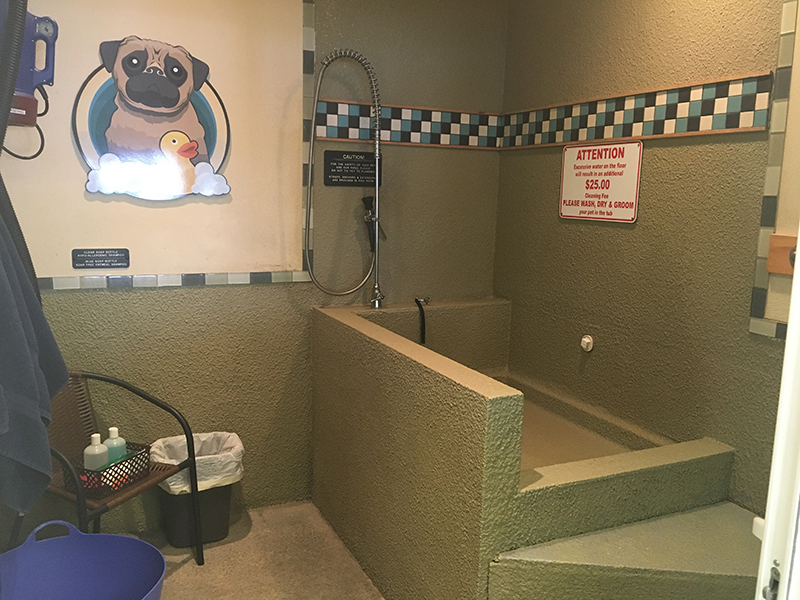 One of our pet bath washrooms. Once you bring your pet inside, you can close the sliding door to keep your buddy in the washroom with you.